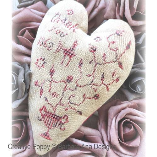 Un coeur reconnaissant, grille de broderie, création Barbara Ana