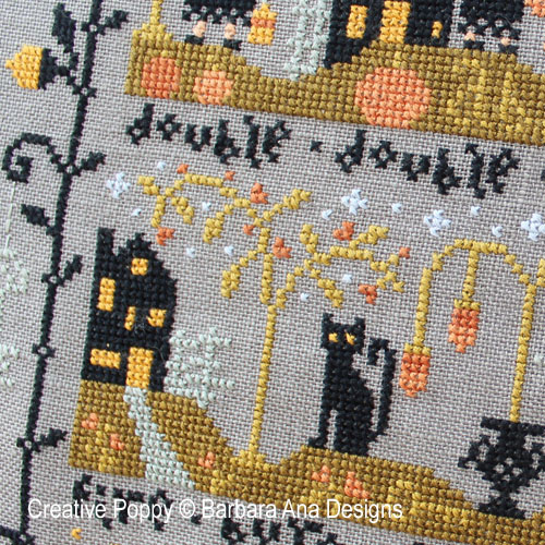 Le vallon au chat noir II, grille de broderie, création Barbara Ana