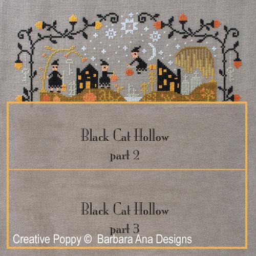 Grille Mystère: Le vallon au chat noir I, grille de broderie, création Barbara Ana Designs