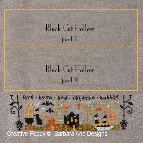 Le vallon au chat noir III, grille de broderie, création Barbara Ana