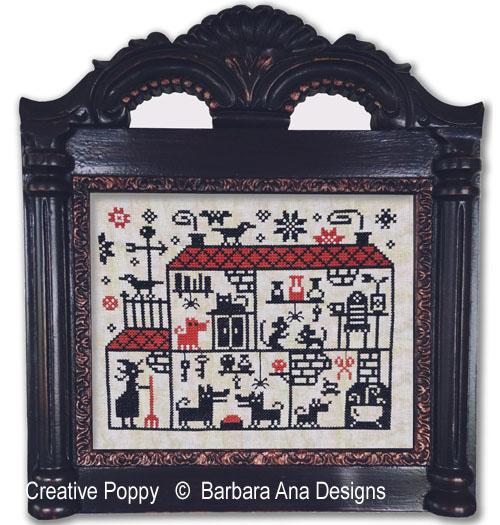 Une maison pleine à craquer, grille de broderie, création Barbara Ana