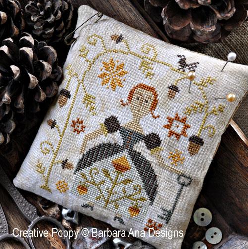 Porte-aiguilles - L'automne, grille de broderie, création Barbara Ana