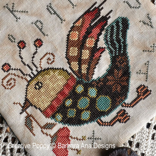 Funky Bird, grille de broderie, création Barbara Ana