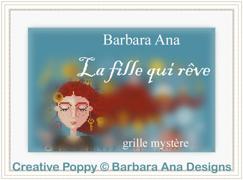 Grille Mystère (SAL) - La fille qui rêve, grille de broderie, création Barbara Ana