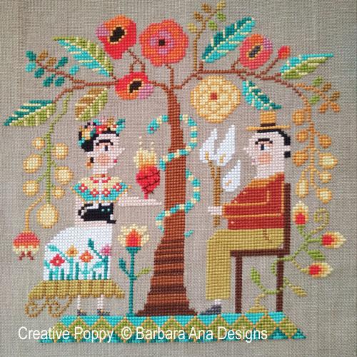 Frida et Diego, grille de broderie, création Barbara Ana
