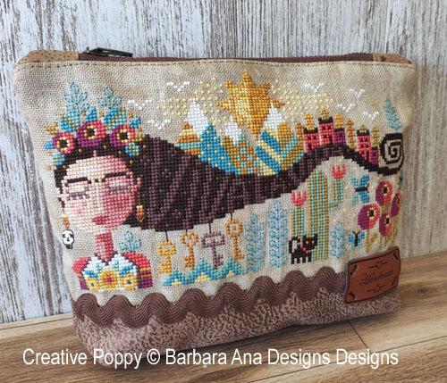 Frida rêvant, grille de broderie, création Barbara Ana