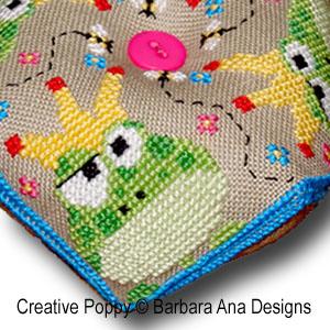 Frogscornu, mon prince, grille de broderie, création Barbara Ana