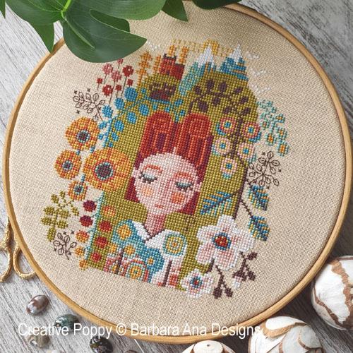 Le jardin des rêves, grille de broderie, création Barbara Ana
