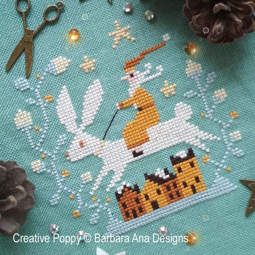 Le lièvre de Noël, grille de broderie, création Barbara Ana