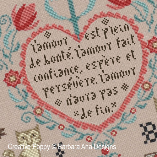 Barbara Ana - Love Never fails, zoom (grille de broderie point de croix)
