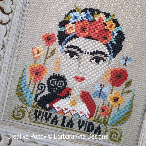 cross stitch patterns inspired by Frida Kahlo and designed by <b>Barbara Ana Designs</b>