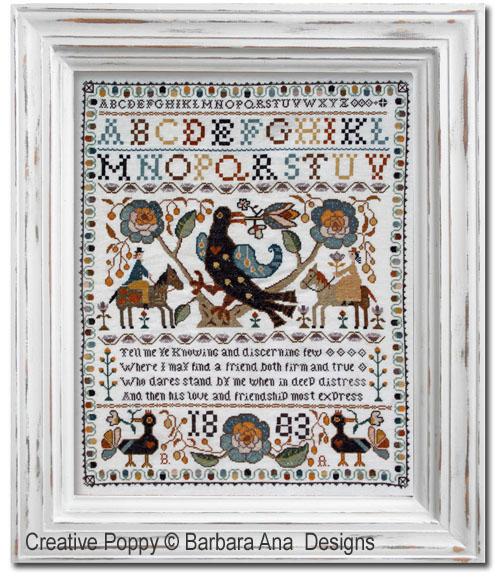 Marquoir Portugais à l'oiseau, grille de broderie, création Barbara Ana
