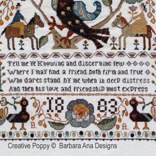 Marquoir portugais à l'oiseau broderie point de croix, création Barbara Ana, zoom1