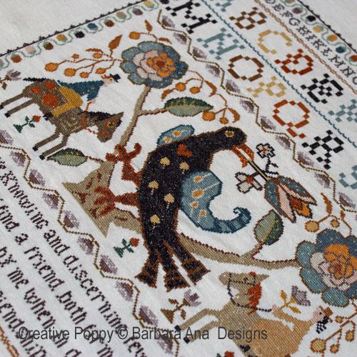 Marquoir Portugais à l'Oiseau de Barbara Ana inspiré des tapis Arraiolos
