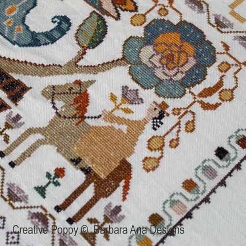 Marquoir portugais à l'oiseau broderie point de croix, création Barbara Ana, zoom2