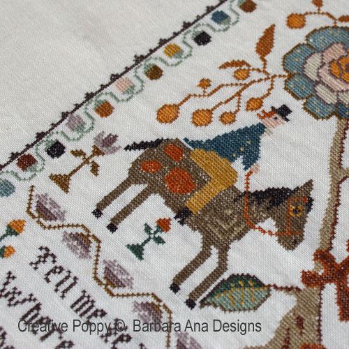 Marquoir portugais à l'oiseau broderie point de croix, création Barbara Ana, zoom3