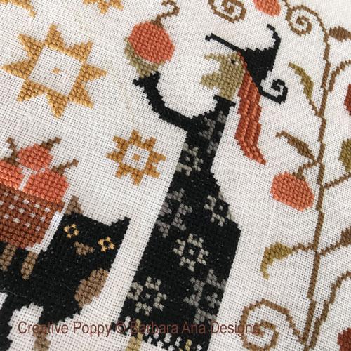 Barbara Ana - La récolte (Witchy Harvest), zoom 1 (grille de broderie point de croix)