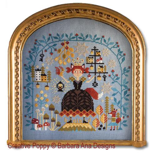 La reine de la forêt, grille de broderie, création Barbara Ana