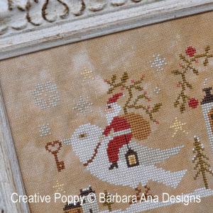 Noël à la colombe blanche, grille de broderie, création Barbara Ana