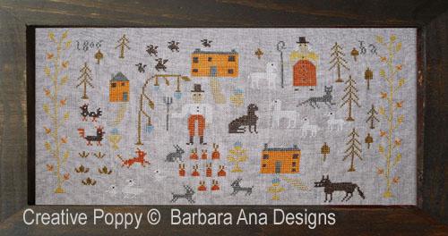 La ferme du loup efflanqué, grille de broderie, création Barbara Ana