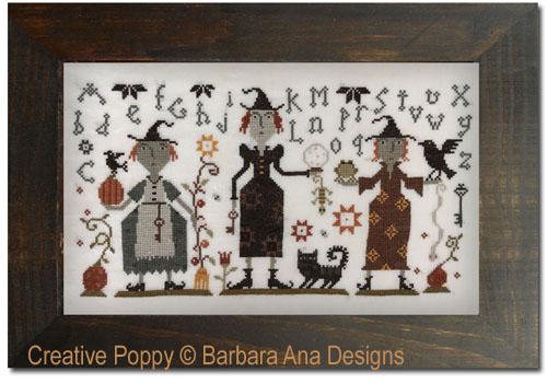 Les trois sorcières, grille de broderie, création Barbara Ana