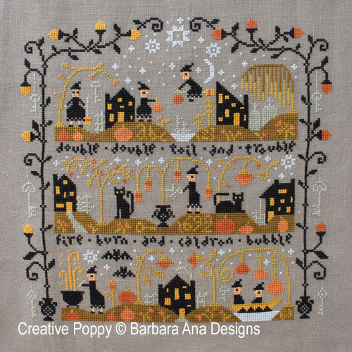 Le vallon au chat noir (grille complète), grille de broderie, création Barbara Ana