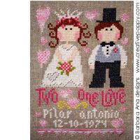 Deux coeurs, un seul amour - grille point de croix - création Barbara Ana