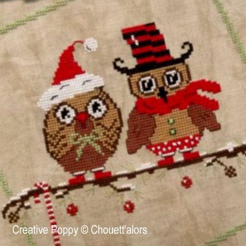 Duo de Noël, grille de broderie, création Chouett'alors