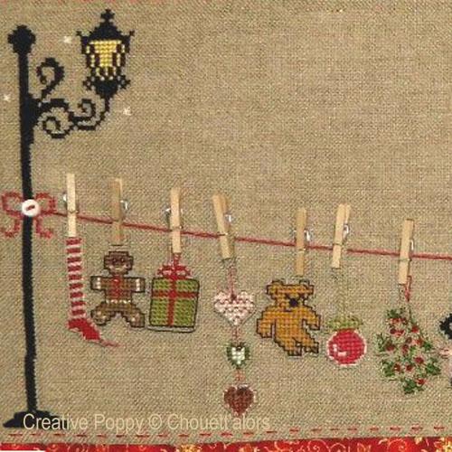 L'étendoir de Noël, grille de broderie, création Chouett'alors