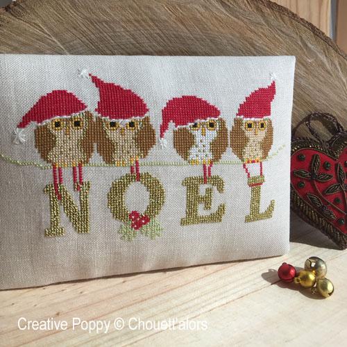 Noël aux 4 chouettes, grille de broderie, création Chouett'alors