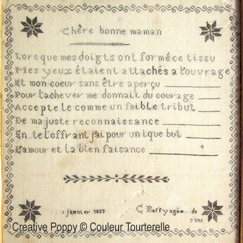 C. Boffy 1823, grille de broderie, création Couleur Tourterelle