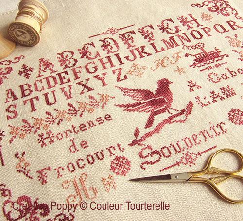 Hortense de Frocourt 1887, grille de broderie, création Couleur Tourterelle