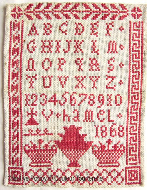 V. Hamel 1868, grille de broderie, création Couleur Tourterelle