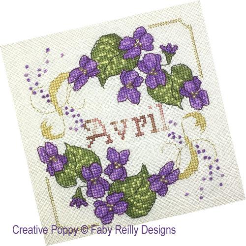 Faby Reilly Designs - Anthea - Avril - Violettes (grille point de croix)