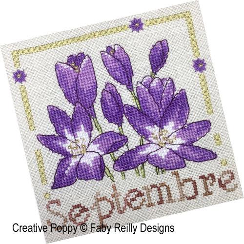 Anthea - Septembre - Colchiques, grille de broderie, création Faby Reillly