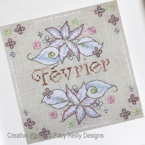 Anthea - Février - Lys et Arum, grille de broderie, création Faby Reilly Designs