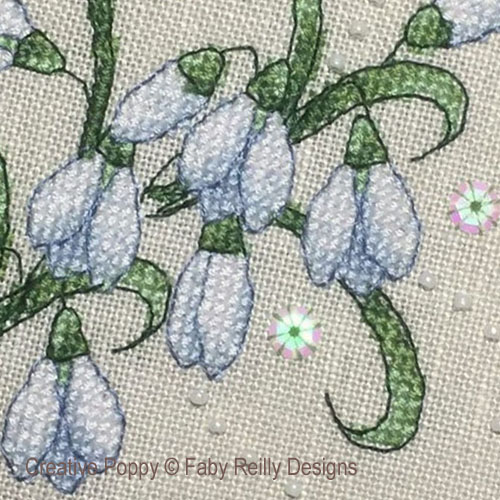 Janvier - Perce-neige, grille de broderie, création Faby Reilly