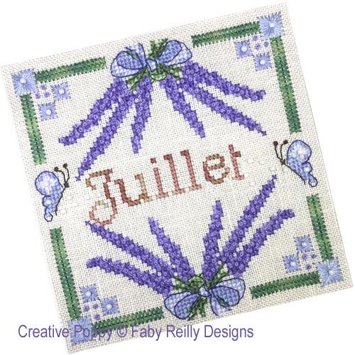 Anthea - Juillet - Lavande, grille de broderie, création Faby Reilly