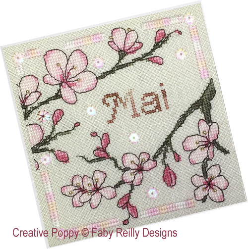 Anthea - Mai - Sakura, grille de broderie, création Faby Reilly Designs