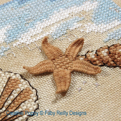 Ballade à la plage, grille de broderie, création Faby Reilly