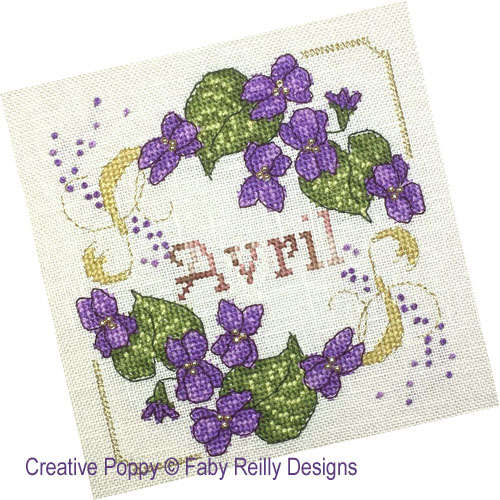 Anthea - Avril - Violettes, grille de broderie, création Faby Reilly