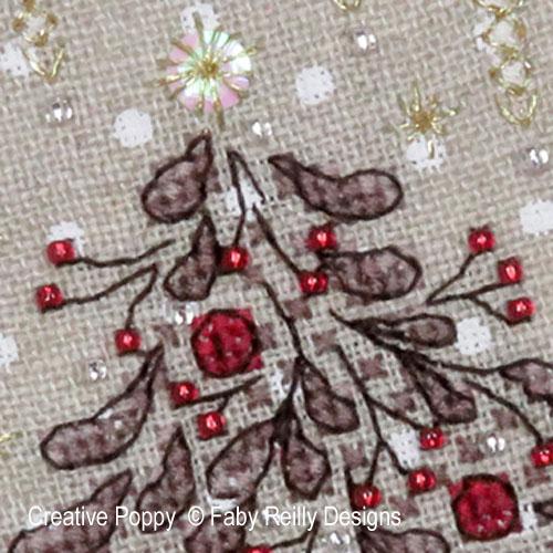Cartes de Noël Christie, grille de broderie, création Faby Reilly
