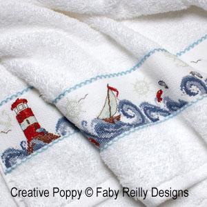Haute mer (décor linéaire en bandeau), grille de broderie, création Faby Reilly
