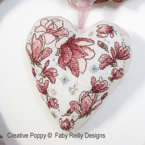 Coeur Magnolia, grille de broderie, création Faby Reilly