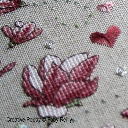 Modèles de broderie avec Fleurs de Magnolias, création Faby Reilly