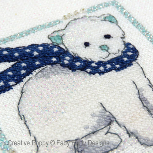 Mini cadres de Noël marine-menthe (4 motifs), grille de broderie, création Faby Reilly