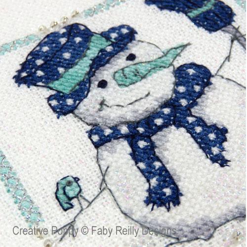 Mini cadres de Noël marine-menthe (2 motifs), grille de broderie, création Faby Reilly