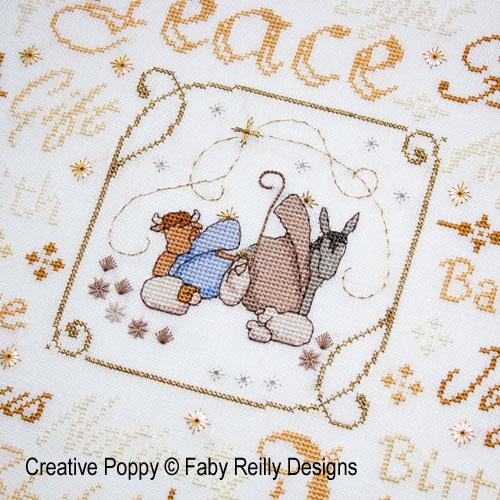Tableau Crèche de Noël, grille de broderie, création Faby Reilly