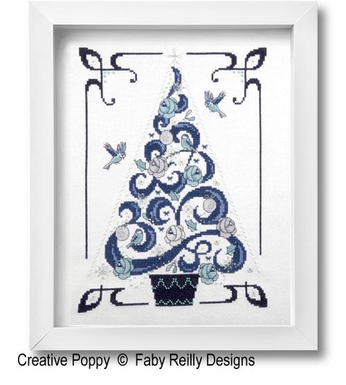 O Tannenbaum en Bleu, grille de broderie, création Faby Reilly