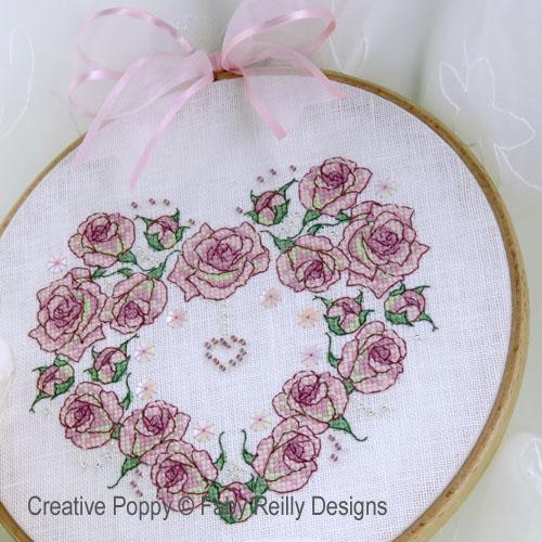 Coeur - Il était une fois une rose, grille de broderie, création Faby Reilly